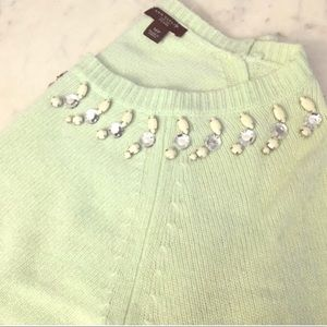 NWOT Mint Bejeweled Neck Sweater by Ann Taylor